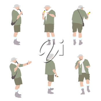 Set of Leading with a Microphone. Vector Illustration. EPS10