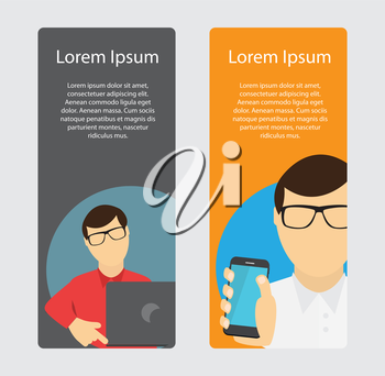 A Business Banner in Trendy Flat Style. Communication Concept. Vector Illustration. EPS10