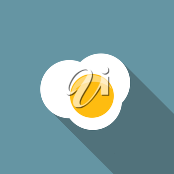 Scrambled Egg Flat Icon with Long Shadow, Vector Illustration Eps10
