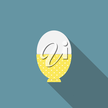 Soft-Boiled Egg Flat Icon with Long Shadow, Vector Illustration Eps10