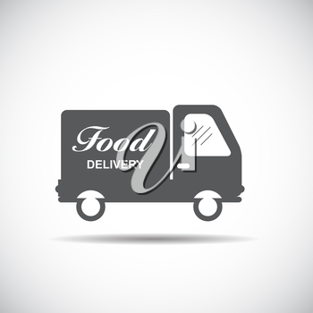 Icon with Flat Graphics Element of Food Delivery Car Vector Illustration EPS10