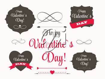 Vector St Valentine Day's Labels, Elements, Arrows in Retro Style Design