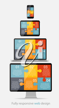 Fully Responsive Web Design Concept Vector Illustration.