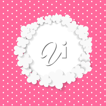 Cute Frame with Paper Flowers Vector Illustration.