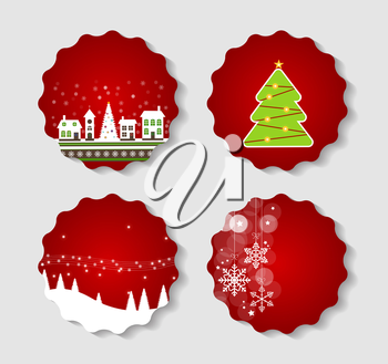 Set of Labels with Christmas BALLS, Stars and Snowflakes, Illustration