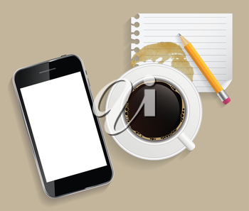 Coffee Cup with Abstract Tablet Vector Illustration on Business Theme