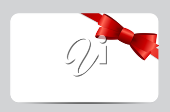 Gift Card Set with Red Ribbon and Bow. Vector illustration EPS10