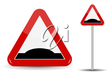 Road sign Warning Sleeping policeman. In Red Triangle is schematically depicted an artificial unevenness in the form of hillock. Vector Illustration. EPS10