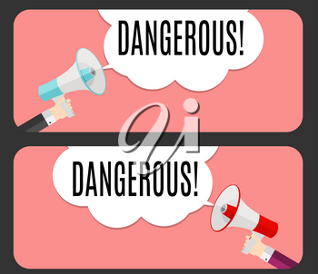 Abstract Banner with text Dangerous. Emotion and Curiosity Concept. Pop Art  Retro Design Element for Advertising and Poste. Vector Illustration EPS10