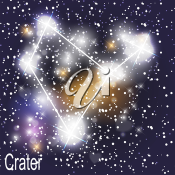 Crater Constellation with Beautiful Bright Stars on the Background of Cosmic Sky Vector Illustration. EPS10