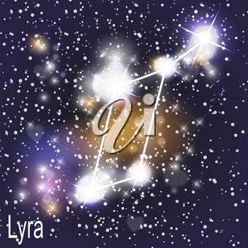 Lyra Constellation with Beautiful Bright Stars on the Background of Cosmic Sky Vector Illustration EPS10