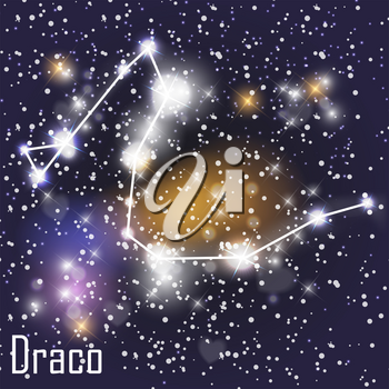 Draco Constellation with Beautiful Bright Stars on the Background of Cosmic Sky Vector Illustration. EPS10