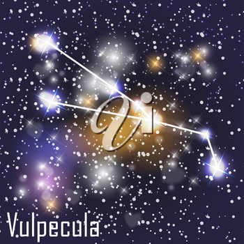Vulpecula Constellation with Beautiful Bright Stars on the Background of Cosmic Sky Vector Illustration. EPS10