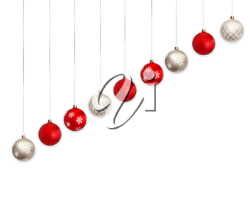 3d Christmas balls for holiday new year design on white background. Vector illustration. EPS10