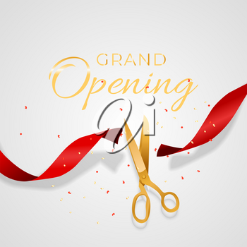 Grand Opening Card with Ribbon and Scissors Background. Vector Illustration EPS10