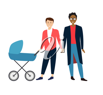 Two Gay Cartoon men couple with baby in a stroller. Vector Illustration EPS10