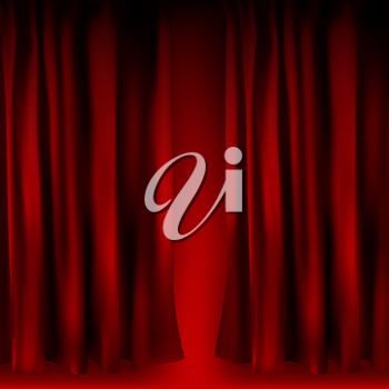 Realistic colorful red velvet curtain folded. Option curtain at home in the cinema. Vector Illustration. EPS10