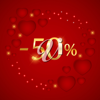 Valentines Day Holiday Discount banner Sale poster. Vector Illustration EPS10