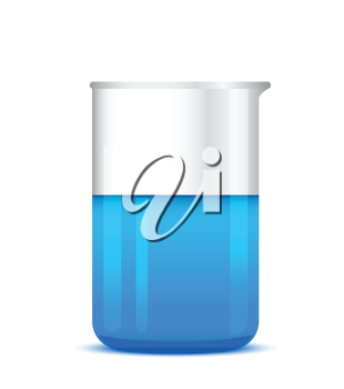 Chemical beaker with solution - laboratory glassware, isolated on white background; 3d illustration, vector, eps 10