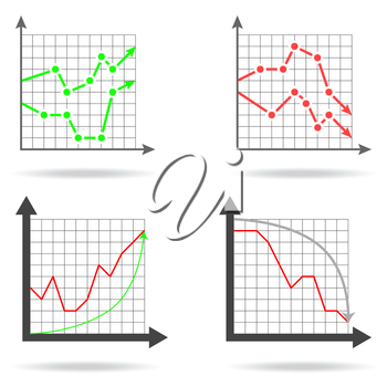 Icons of financial charts on white background, 2d illustration, vector, eps 8