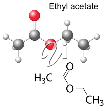 Structural chemical formula and model of ethyl acetate molecule, 2d and 3d illustration, isolated, vector, eps 8