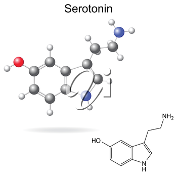Structural model, chemical formula of serotonin molecule, 2d and 3d isolated vector, eps 8
