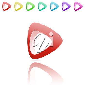 Smooth arrow with reflection, color variations, 3d vector logo on white background, eps 10