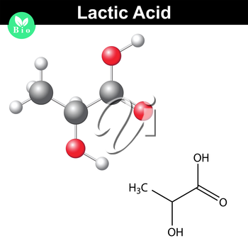 Lactic acid molecule, lactate, structural chemical formula and model, 2d and 3d vector, isolated on white background, eps 8