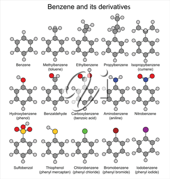 Chemical formulas of benzene and its derivatives, 2D Illustration, vector, isolated on white