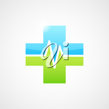 Medical icon with m letter concept, 2d glassy vector, cross shape, eps 10