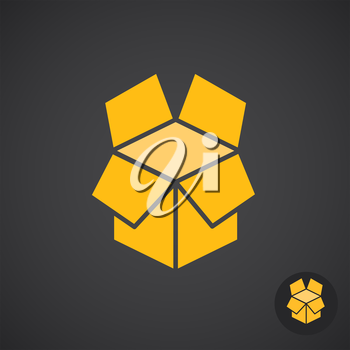 Box icon on dark background, unboxing concept sign, 3d isometric vector, eps 10