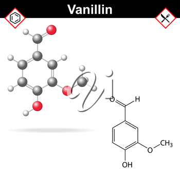 Vanillin - chemical formula and molecular structure, food additive, flavor enhancer, 2d and 3d vector, eps 8
