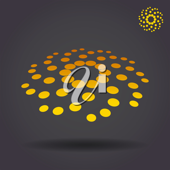 Dotted circular storm sign, 2d and 3d illustration, vector on dark background, eps 10