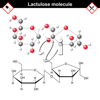 Lactulose molecular structure, stereoisomer of lactose, medical drug, 2d and 3d vector illustration, eps 8