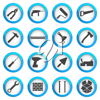 Home repair and renovation icon set, building and construction concept, 16 vector signs on dark round buttons, eps 10