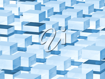 Abstract digital 3d background with blue boxes pattern