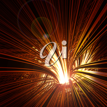 Abstract background: red glowing funnel with the light inside