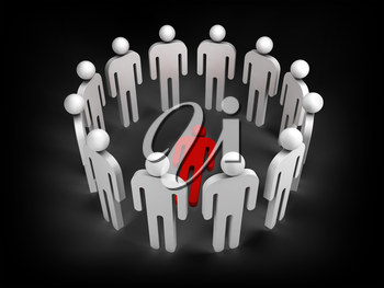 Twelve abstract white 3d people stand in ring with one red lying person inside isolated on black