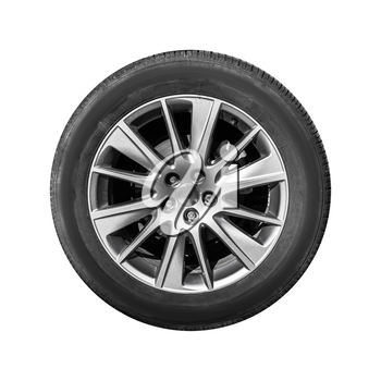 Modern crossover car wheel, front view isolated on white background