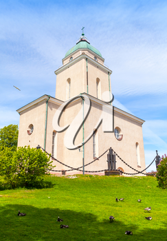 Suomenlinna Church in summer. It was built as an Eastern Orthodox garrison church for the Russian troops of Suomenlinna sea fortress in 1854