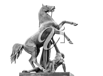 Horse Tamers sculpture isolated on white, designed by the Russian sculptor, Baron Peter Klodt von Urgensburg in 1841. Nevsky Prospect, Anichkov bridge, Saint-Petersburg, Russia