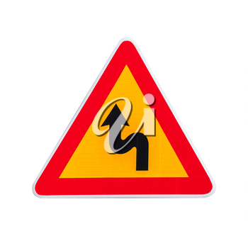 Dangerous turns, yellow triangle warning traffic sign isolated on white background