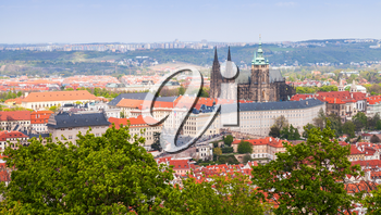 Czech Republic, panoramic view of Prague with St. Vitus Cathedral