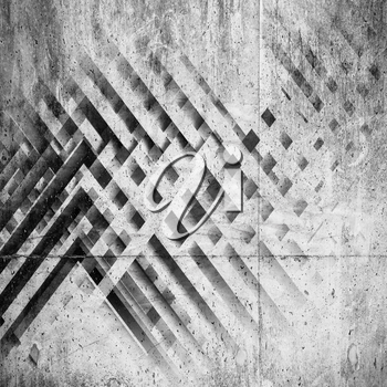 Abstract square background, pattern of intersected stripes with concrete texture. 3d illustration