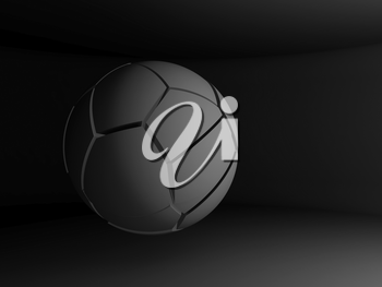 Abstract spherical object with chaotic fragmentation is flying in a black empty interior, 3d rendering illustration