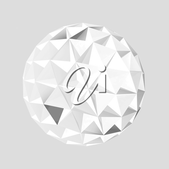 White spherical triangulated crystal object isolated over light gray background, 3d rendering illustration