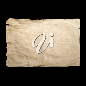 Sheet of old yellow crumpled paper isolated on black