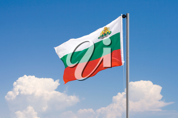 Bulgarian flag against blue sky