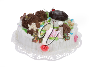 Cake and tablecloth on isolated white background