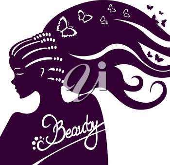 Beautiful girl with long hair and a lot of the butterflies around her. Vector illustration